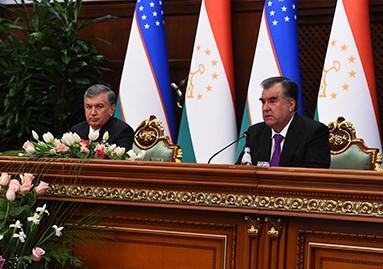 Шавкат Мирзиеев и Эмомали Рахмон в Душанбе
