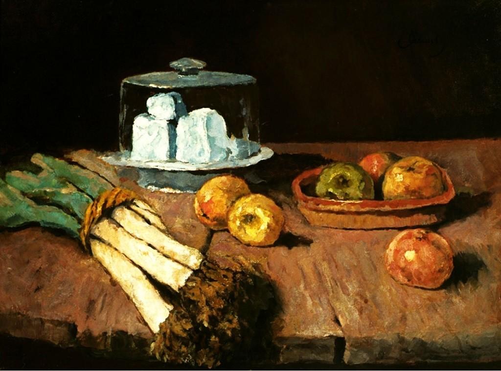 Натюрморт с луком-пореем, сыром и яблоками австрийского художника XIX века Carl Eduard Schuch