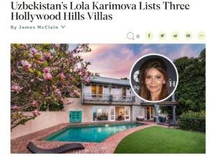 Лола Каримова продает 3 голливудских виллы