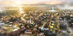 Фрагмент мастер-плана Нового Ташкента, предложенного Benoy